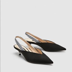Zara Slingback Shoes with Kitten Heel
